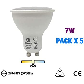 Pack 5 Bombillas LED regulables GU10, 220-240V, 120º va, 7W,