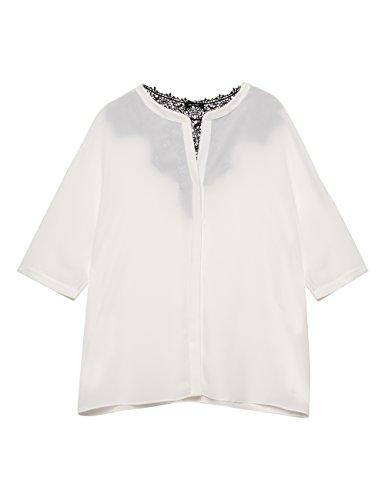 Elena miro': camicia con inserto dietro bianco, taglia 43
