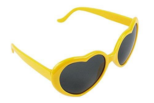 niceeshop(TM) Modern Süß Herzförmig Kunststoff Rahmen Retrostil Sonnenbrille Brille, Gelb