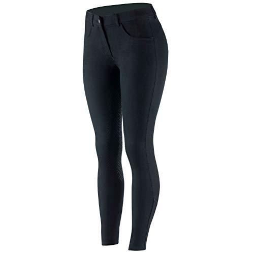 netproshop Damen Reithose im Jeans-Style mit Hohem Bund und Silikon-Vollbesatz, Damengroesse:36, Farbe:Schwarz