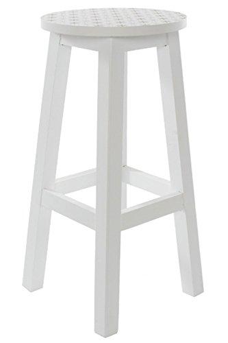 elbmöbel Großer Sitzhocker Hocker Muster Weiß Hoch Holzhocker Blumentisch Pflanztisch
