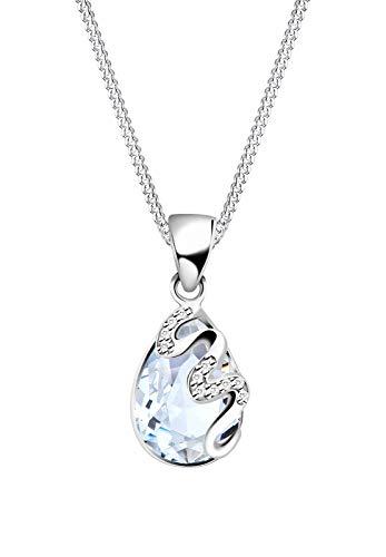 Elli Damen-Kette mit Anhänger Wellen Tropfen funkelnd 925 Silber Swarovski Kristall weiß Tropfenschliff - 0107183014_45 - 45cm Länge