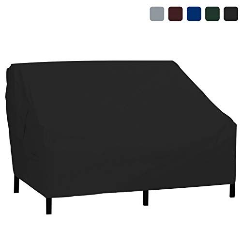 Outdoor Loveseat Cover 18 Oz Waterproof - 100{bb441734886b2fb81cdab9052646076facf7e942ccda258478cb611fc60757a5} UV & Weather Resistant PVC Coated Patio Sofa Cover with Air Pockets and Drawstring for Snug Fit (58W x 31H x 33D x 15FH, Black)