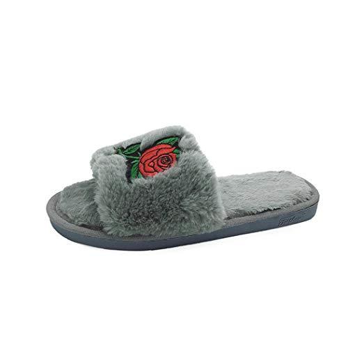 Donad Winter Hausschuhe Indoor Anti Skid Weiche Sohlen Pfingstrose Bestickte Hochzeit Blumen Baumwolle Rote Home Schuhe