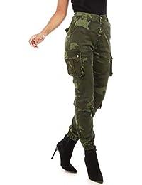 La Modeuse - Pantalon Taille Haute Style Treillis imprimé Camouflage avec  Poches Cargos 94c098c78ec