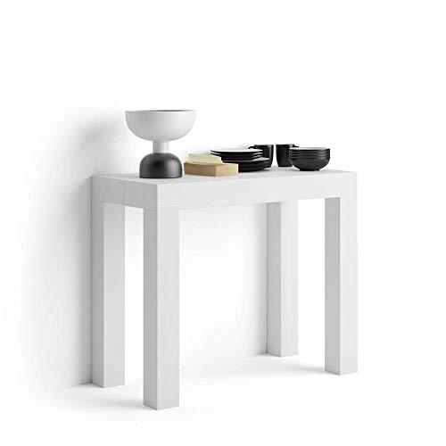 MobiliFiver Tavolo Consolle Allungabile First, Bianco Frassino, 90 x 45 x 76 cm, Nobilitato/Alluminio, Made in Italy, Disponibile in Vari Colori