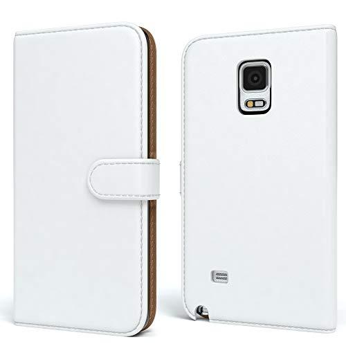 EAZY CASE Tasche für Samsung Galaxy Note 4 Schutzhülle mit Standfunktion Klapphülle im Bookstyle, Handytasche Handyhülle Flip Cover mit Magnetverschluss und Kartenfach, Kunstleder, Weiß