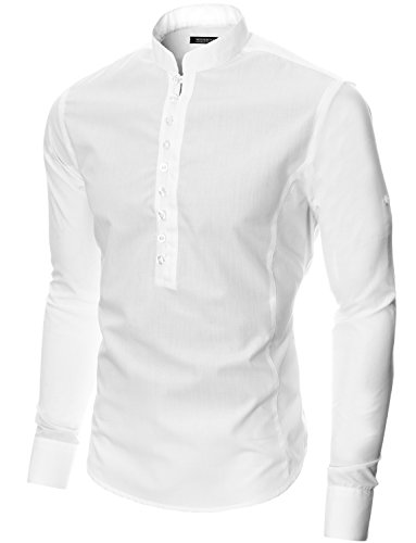 MODERNO Manches Longues Chemise Casual Homme (MOD1431) Blanc
