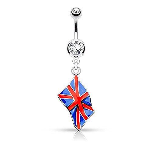 1 x United Kingdom National Flag Clear Crystal baumeln Bauch Bar Piercing Dicke: 1,6 mm Länge: 10mm Material: Chirurgischer (National Uk Mädchen Kostüm Für)