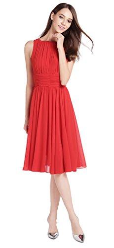 MILEEO Femme Robe de Soirée Robe de Demoiselle d'honneur Au Genou Jolie Chiffon Cocktail Mariage A-line Elegant Rouge