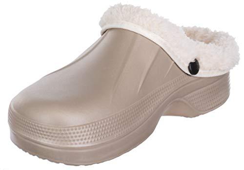 Brandsseller Damen Clogs Pantoffel Schuhe Gartenschuhe Hausschuhe Unisex gefüttert - Farben: Beige - Größe: 38