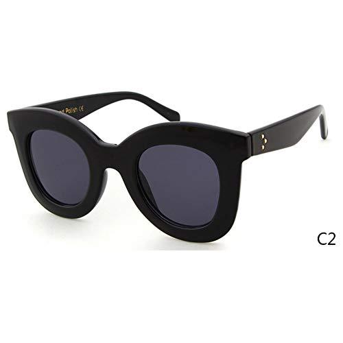 ZRTYJ Sonnenbrille White Cat Eye Sonnenbrille Cl Shadow Damen Superstar Kim Kardashian Audrey Flat Top Cateye Sonnenbrille Shades