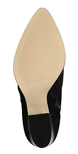 SHOFOO - Femmes - Bottines - Cuir synthétique - Marron ou Noir - Talon épais - Bout pointu fermé Noir