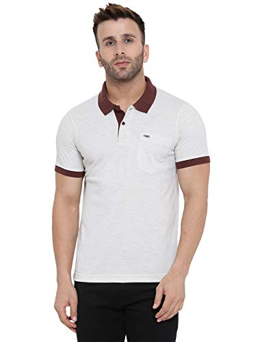 Cloak & Decker by Monte Carlo Mens White Color Solid Polo Collar Tshirts