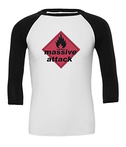 LaMAGLIERIA Massive Attack Classic Logo - Unisex 3/4 Sleeve Baseball Rock T-Shirt, M, Weiß (Tshirt Massive)