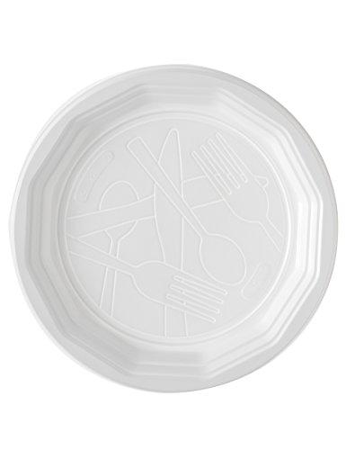 100 Assiettes plates en plastique blanc 20 cm - taille - Taille Unique - 235276