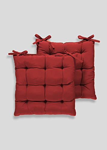 Angel Mommy Cotton Decorative Damask Fabric Chairpad/Back Support/Seat Cushion with Ties and Handmade Quilting (Maroon, Medium - 16' x 16' Inch) - Pack of 2