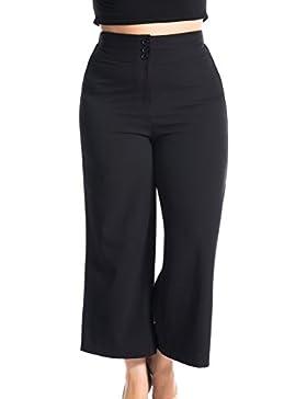 Chicwe Mujeres Tallas Grandes Pantalón con Cintura Alta Pierna Ancha Ajusta Curva - Pantalones Casuales en Oficina