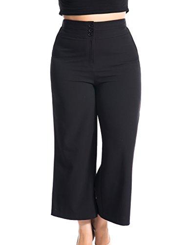 Chicwe Damen Große Größen Curvy-Fit Gekleideter Länge Weites Bein Hose mit breitem Bund Schwarz 58 (Beschnitten Hose Petite)