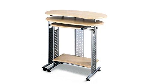 Computertisch Twin Schreibtisch Buche mit Tastaturauszug seitliche Ablage und Rollen 120-170 cm