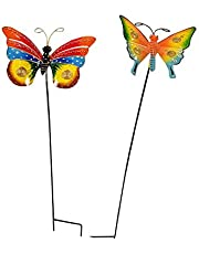 Wonderland Set of 2 Metal Butterfly Stick in red and Yellow (Hand Made & Hand Painted)