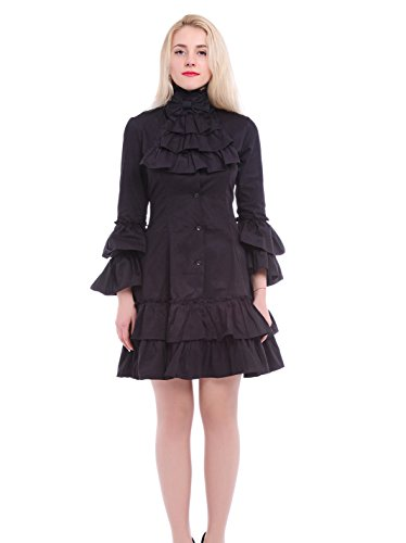 Nuoqi® Damen Lolita Trompetenärmel Retro Palast Gothic Langarm Kleid Palace Prinzessin Kleid Halloween Party Cosplay Kostüm Schwarz (L, (Kostüme Palace)