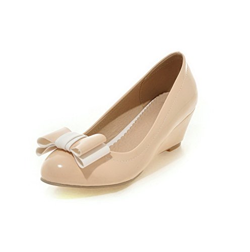 AgooLar Damen Pu Leder Rein Ziehen Auf Rund Zehe Mittler Absatz Pumps Schuhe Aprikosen Farbe