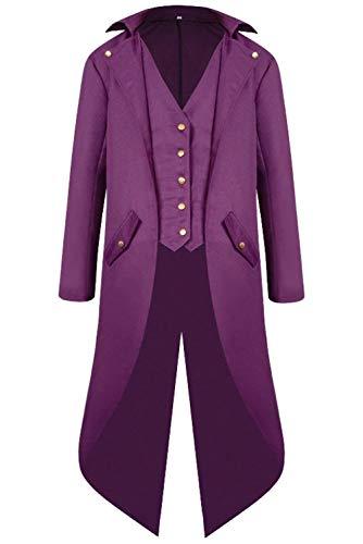 Lannister Fashion Herren Barock Steampunk Jacke Gothic Mittelalter Mittelalterlichen Punk Mantel Bekleidung Renaissance Viktorianischer Gentleman Steampunk (Color : Violett, Size : XL)