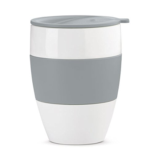koziol Thermobecher 400 ml Aroma to go, Kunststoff, solid cool grey, 9,1 x 9,1 x 12 cm