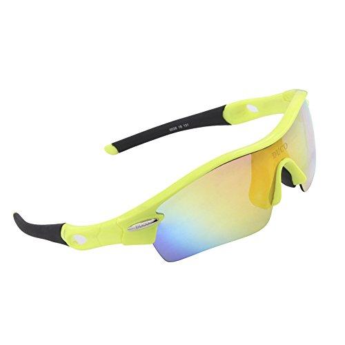 Duco polarizzati occhiali da sole sportivi con 5 lenti intercambiabili protezione uv400 occhiali da sole sportivi per ciclismo esecuzione occhiali 0026 (verde)