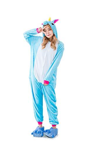 Kauson Unisex Einhorn Pyjamas Onesie Karton Animal Cosplay Fasching Kostüm Warm Gefüttert Body Overall Tier Nachtwäsche Kigurumi Karneval Halloween Weihnachten Xmas Pyjamas Sleepwear