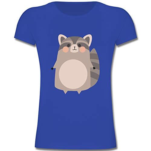 Kostüm Kinder Süßer Waschbär - Karneval & Fasching Kinder - Kostüm Fasching Waschbär - 128 (7-8 Jahre) - Royalblau - F131K - Mädchen Kinder T-Shirt
