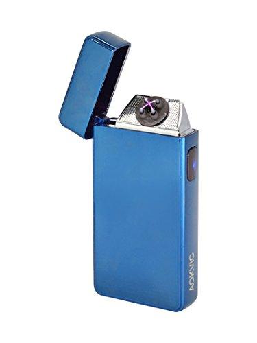 Aokvic Neues USB elektronisches Feuerzeug aufladbar lichtbogen (Blau)