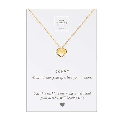 LUUK LIFESTYLE Edelstahl Halskette mit Herz Anhänger und Dream Spruchkarte, Glücksbringer, Damen Schmuck, gold