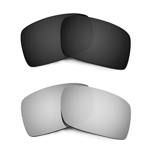 HKUCO Plus Mens Replacement Lenses For Oakley Gascan Black/Titanium Sunglasses