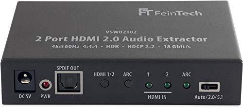 FeinTech VSW02102 2-port HDMI 2.0 Audio Extractor, 2x1 Switch 4K HDR Schwarz Audio 4