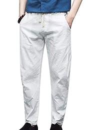 63080a85a86c9a Juleya Herren Casual Leinenhose Leichte Elastische Taille Hosen mit Taschen  M-5XL