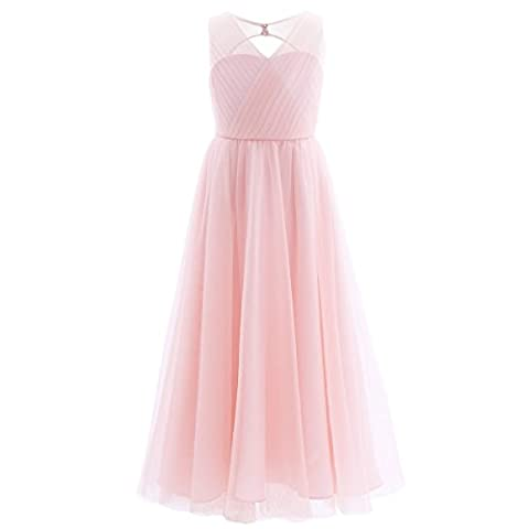 Freebily Mädchen Kleid lang A-Linie Partykleid Sommerkleid Hochzeit Blumenmädchen Kleider Abendkleid Brautjungferkleid Festzug in Gr. 104-164 Rosa