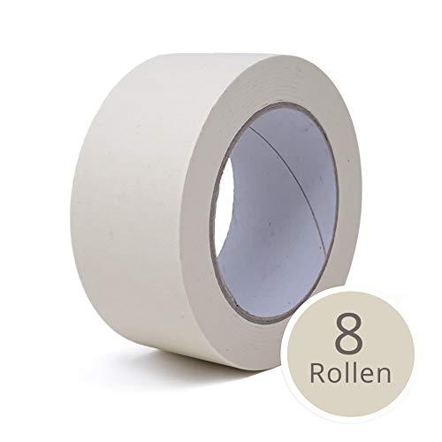 gws Maler-Kreppband ⭐ Abdeck-Klebeband in Profi-Qualität | versch. Breiten | Länge: 50 m | für feine & saubere Farbkanten (8 Rollen - 50 mm breit)