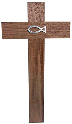 Kaltner Präsente Geschenkidee - 35 cm Wandkreuz Echt Nussbaum Holz Kreuz Holzkreuz Kruzifix für die Wand klassisch mit Fisch Ichthys Symbol