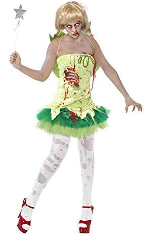 Fancy Me Damen Toter Zombie Pixie Fee Halloween Märchen Kostüm Kleid Outfit - Grün, UK 12-14 (Tote Fee Kostüm)