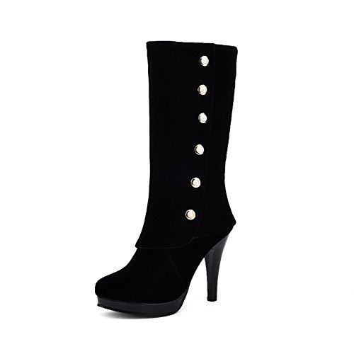 VogueZone009 Damen Ziehen auf Schließen Zehe Hoher Absatz Mitte-Spitze Stiefel mit Schnalle, Weiß, 39