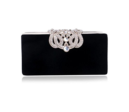GSHGA Womens Clutch Bags Luxuriöse Diamanten Samt Crown Abendtasche Evening HandBag,Red Black