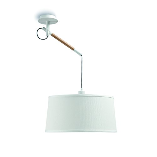 Mantra Igan - Lampara colgante 1 luz colección Nordica, madera natural y pantalla color blanco.