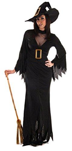 eluxe GOTHIC-HEXE Halloween Kostüm Kleid Outfit STD & Plus - Schwarz, Plus (UK 16-20) (Std Halloween Kostüme)