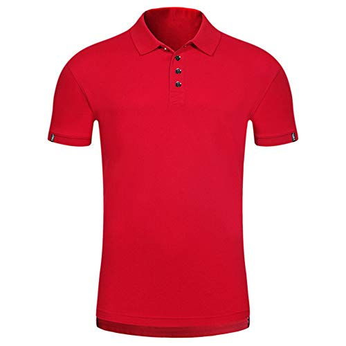 Sommer neu Herren Kurzarm Hemd bequem fest schlank Knopf Bluse T-Shirt Oberteil GreatestPAK,Rot,3XL