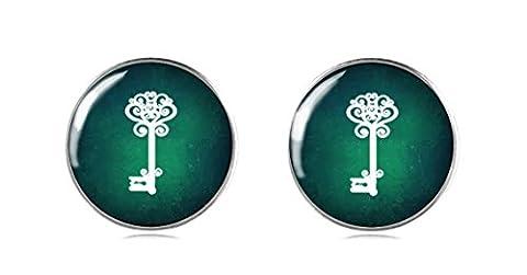 Tizi Jewellery 925 Sterling Silber Ohrringe Ohrstecker 12 mm für Damen und Mädchen Grüne Ohrringe