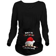 WEIMEITE Embarazo Navidad Camiseta Embarazada tee Shirts Embarazo Mujeres Camisa Sin Mangas Navidad Bebé Impreso Camisetas