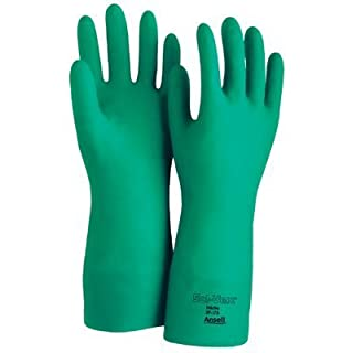 Ansell 37-175-8 Size 8 13 15 Mil Green Sol-Vex Nitrile Gloves Sandpatch Finish by Ansell by Ansell