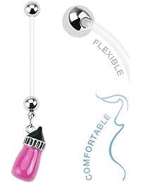 Flexible 14 Gauge Baby Bottle Maternity Navel Ring-pink